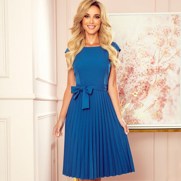 311-4 Pleated Belted Midi Dress In Blue