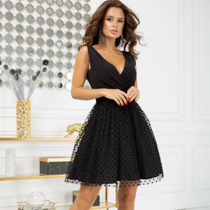 2217-06 Fit & Flare Tulle Belted Mini Dress In Black