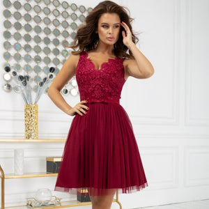 2206-10 Fit & Flare Tulle & Embroidered Lace Mini Dress In Burgundy