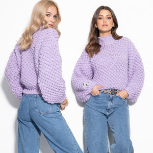 F1035 Oversized Chunky Knit Sweater In Purple