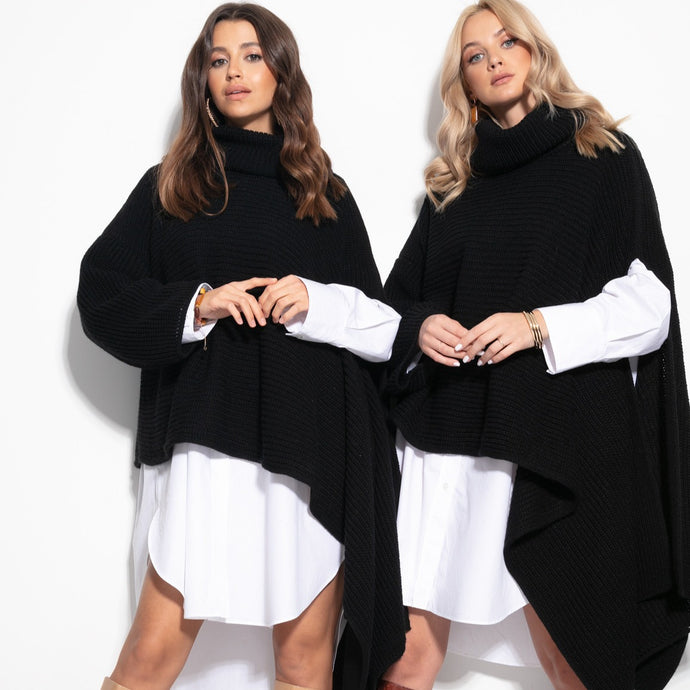 F1098 Oversized Asymmetric Turtleneck Sleeve Poncho In Black