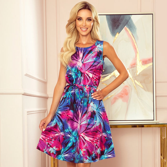 296-3 Floral Trapeze Belted Midi Dress In Blue/Pink