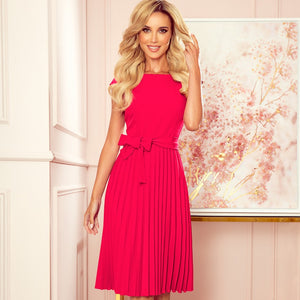 311-5 Pleated Belted Midi Dress In Raspberry