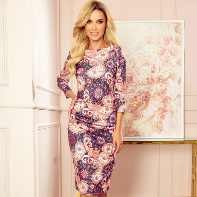 59-10 Ruched Pencil Midi Dress In Pink-Blue Oriental Print