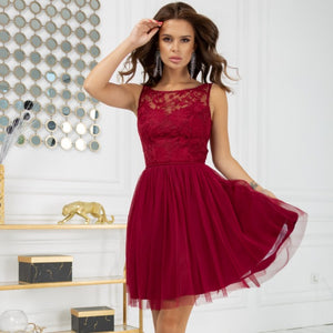 2207-10 Fit & Flare Tulle Mini Dress In Burgundy