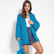 F1060 Recycled Knit Oversized Cardigan In Blue