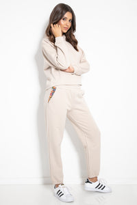 F1076 Two Pieces Hooded Sweatshirt & Track Pants In Beige
