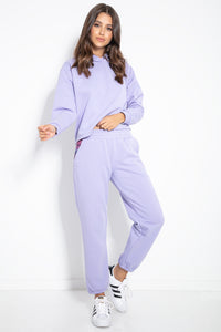 F1076 Two Pieces Hooded Sweatshirt & Track Pants In Purple