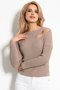 F920 Cut-Out Shoulder Sweater In Brown