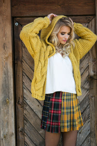 F580 Hooded Chunky Knit Alpaca-Blend Oversized Cardigan In Ceylon-Yellow