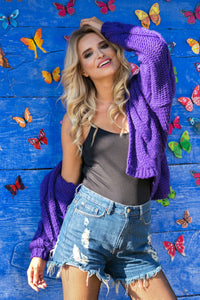 F580 Hooded Chunky Knit Alpaca-Blaend Oversized Cardigan In Purple