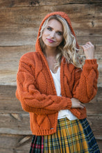 F580 Hooded Chunky Knit Oversized Cardigan In Orange