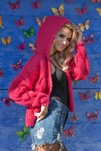 F580 Hooded Chunky Knit Oversized Cardigan In Pink