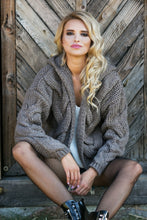 F580 Hooded Chunky Knit Oversized Cardigan In Brown