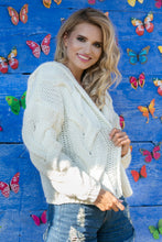 F580 Hooded Chunky Knit Oversized Cardigan In Ecru