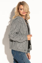 F580 Hooded Chunky Knit Oversized Cardigan In Grey