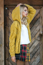F580 Hooded Chunky Knit Oversized Cardigan In Ceylon-Yellow