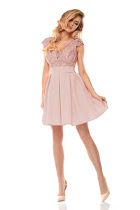 2139-20 Fit & Flare Belted Mini Dress In Dusty Pink
