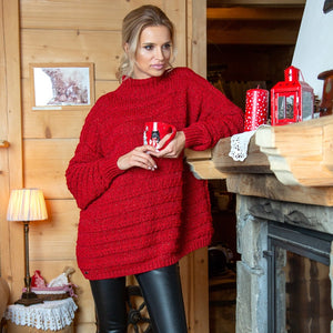 F610 High-Neck Alpaca-Blend Glitter Oversize Sweater In Red