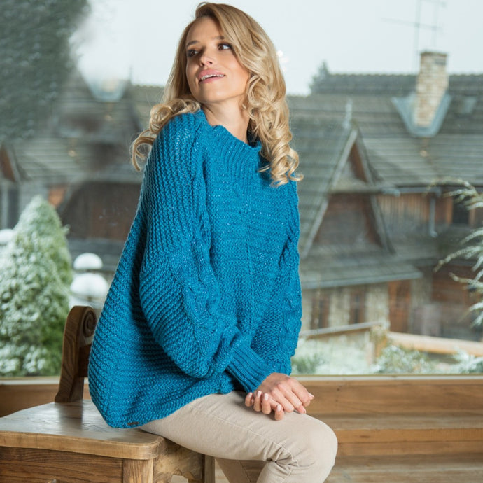 F612 High-Neck Glitter Sweater In Blue