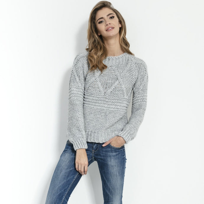 F861 High-Neck Chunky-Knit Sweater In Grey