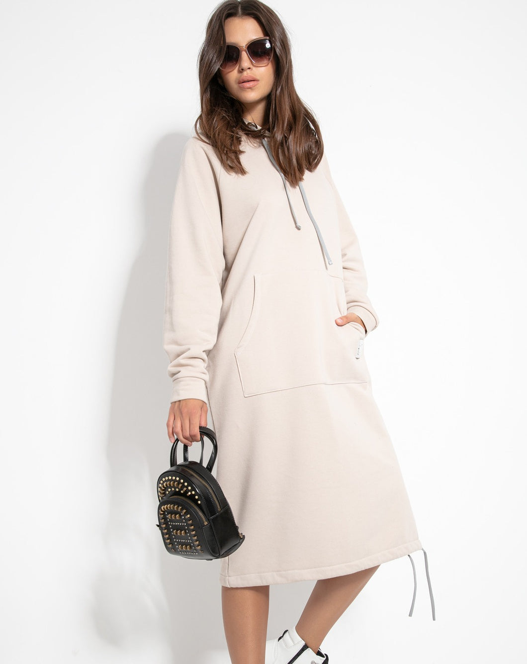F1123 Cotton-Blend Hooded Sweatshirt Midi Dress In Beige