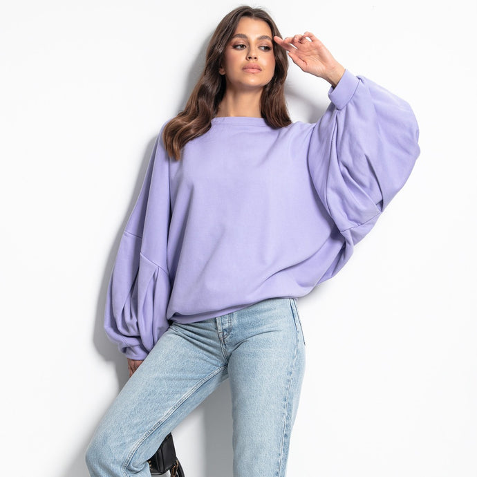 F1086 Sweatshirt With Wide Sleeve In Purple