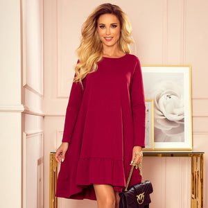337-2 Trapeze Cotton-Blend Dress with Ruffle Hem In Burgundy
