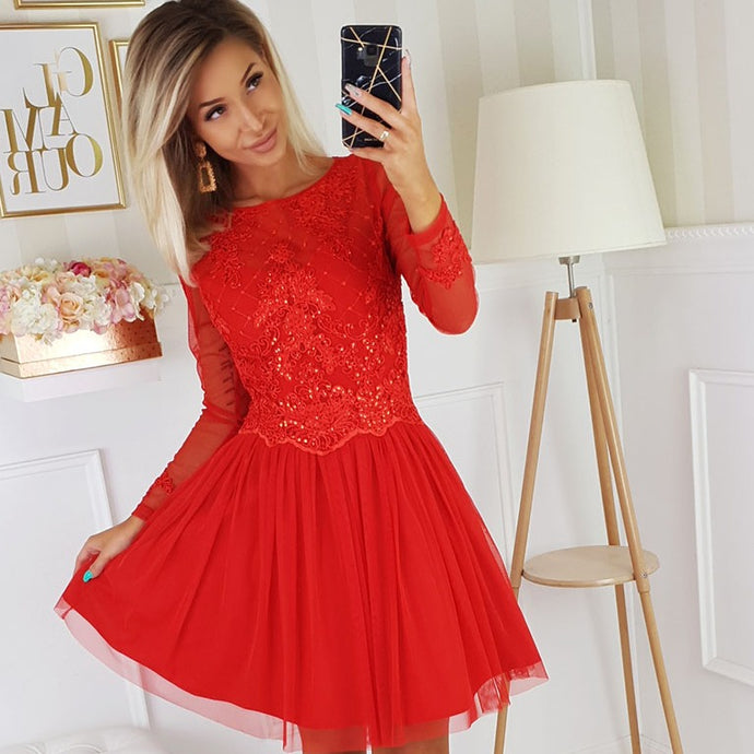2194-02 Tulle & Embroidered Mesh High-Low Mini Dress In Red