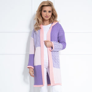 F1032 Hooded Long Cardigan In Lilac