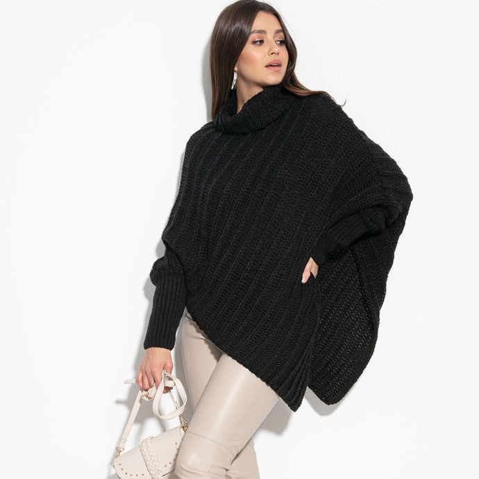 F1127 Roll Neck Wool-Blend Sleeve Poncho In Black