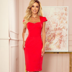 318-1 Cap Sleeve Midi Dress In Red