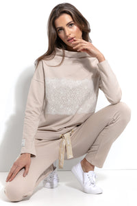 F932 Cotton Sweatshirt With Lace Detail In Beige