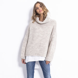 F811 Alpaca-Blend Turtleneck Sweater In Beige-Melange
