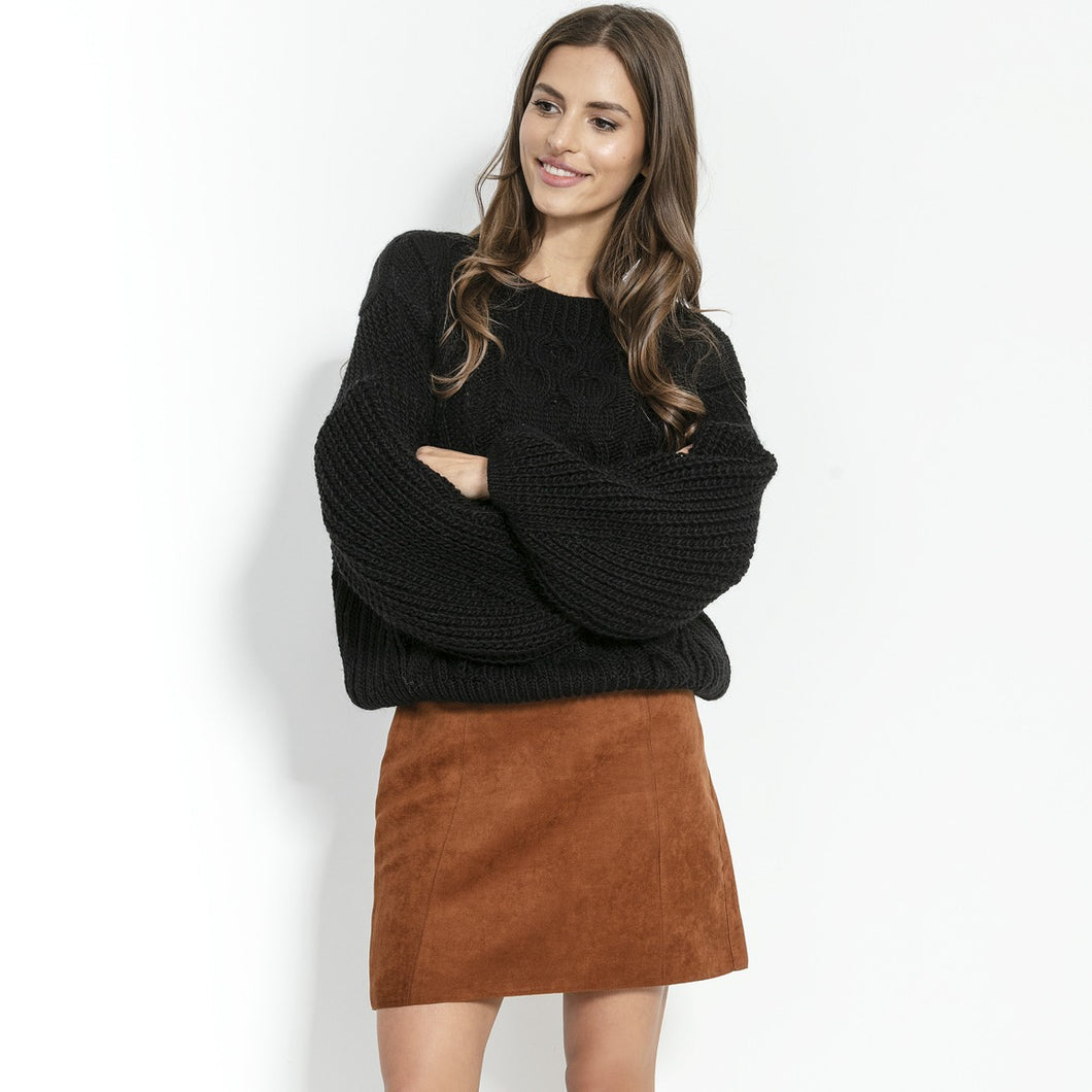 F866 Alpaca-Blend Cable-Knit Sweater In Black