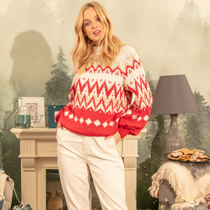 F1138 Norwegian Pattern High-Neck Jumper In Red