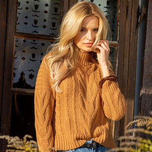 F1114 High Neck Aran Knit Sweater In Carmel
