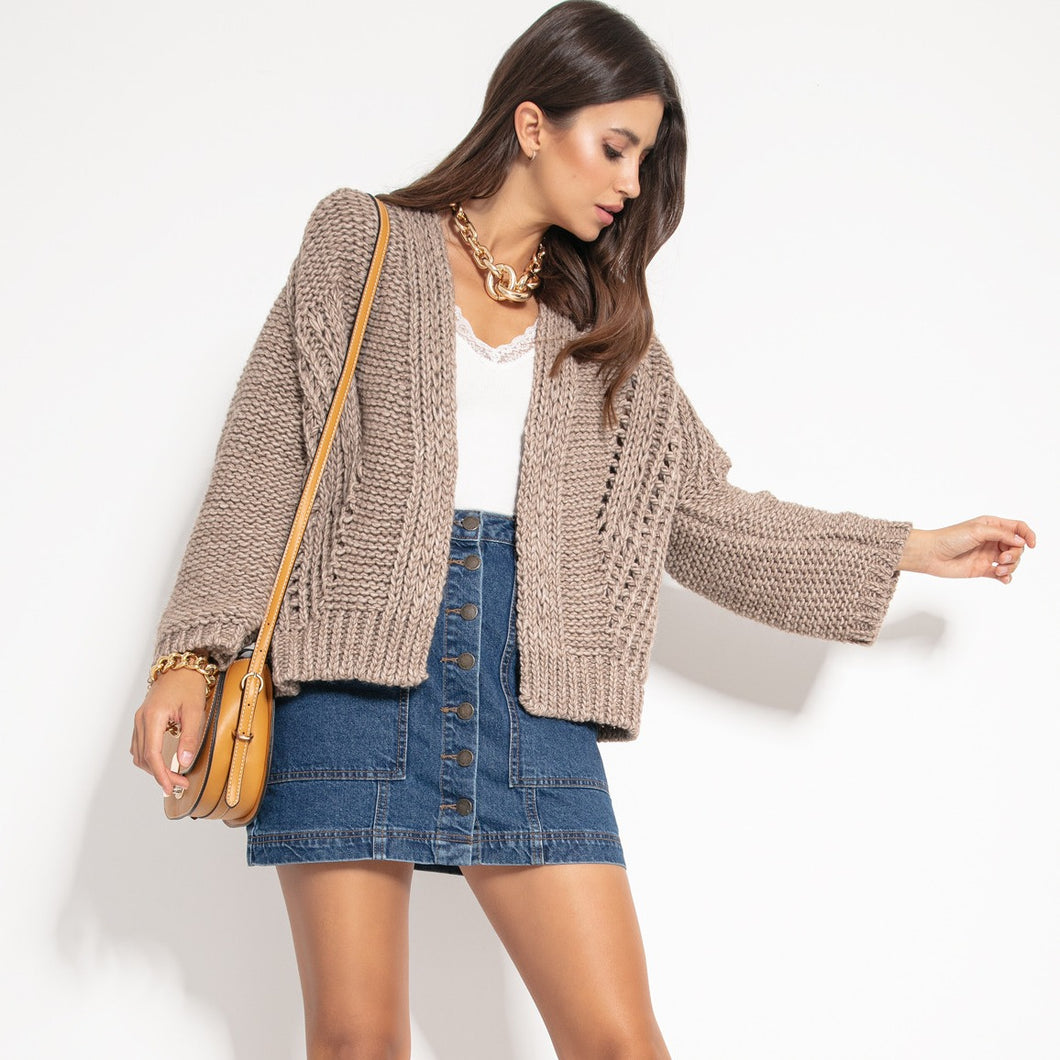 F1071 Alpaca Short Oversized Cardigan In Brown