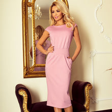 144-9 Midi Dress with Pockets In Dusty Pink