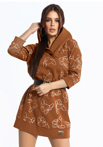 104-7 Animal Print Hooded Sweatshirt-Tunic In Camel