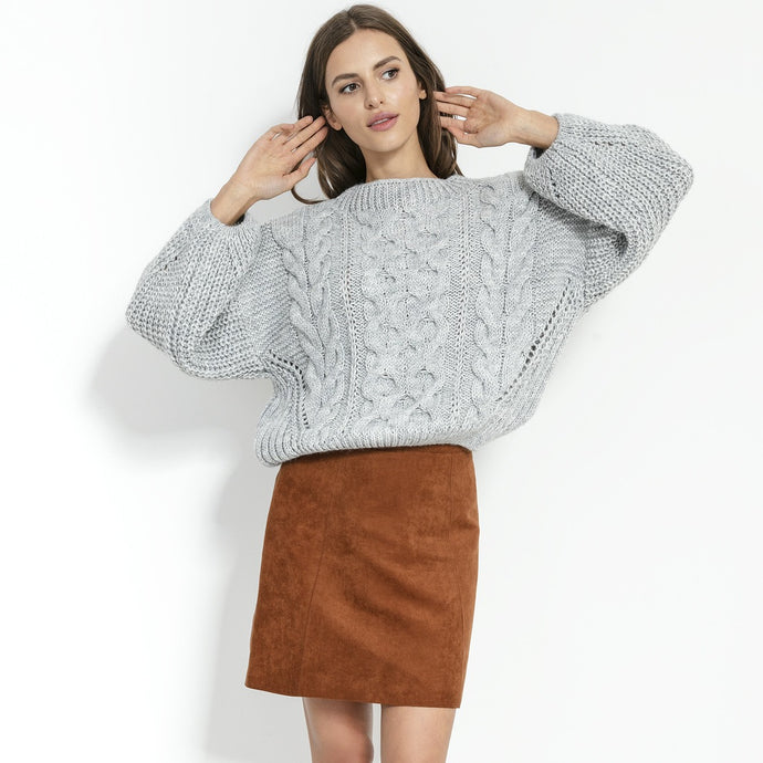 F866 Alpaca-Blend Cable-Knit Sweater In Grey