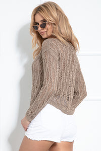F1036 Eyelet Stitching Asymmetrical Sweater In Brown