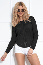 F1036 Eyelet Stitching Asymmetrical Sweater In Black