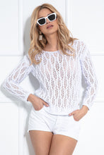 F1036 Eyelet Stitching Asymmetrical Sweater In White