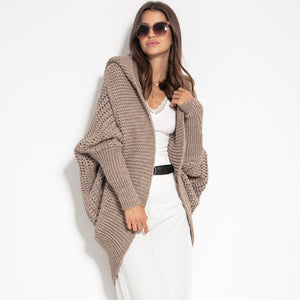 F1072 Shrug Hooded Oversized Cardigan In Brown