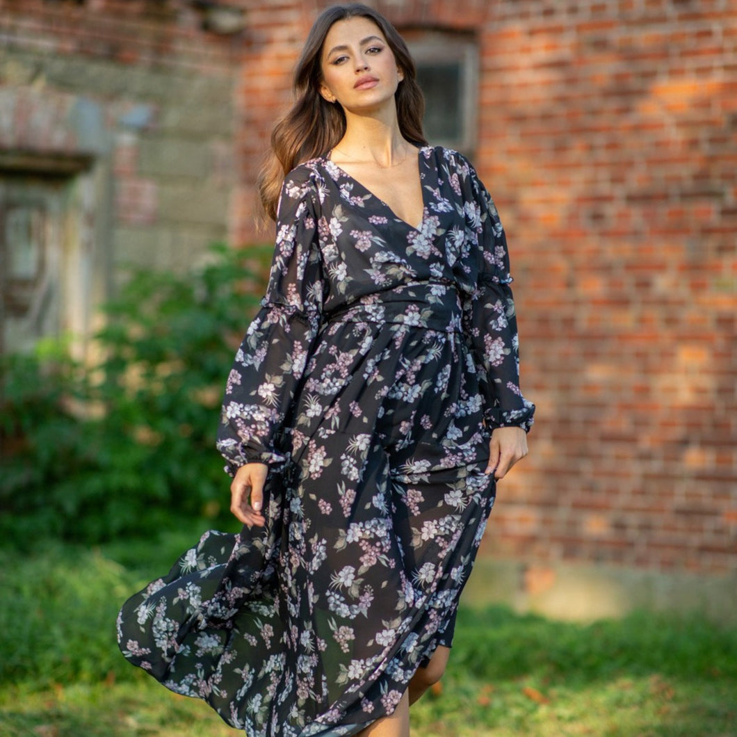 F997 Floral Wrap-Detailing Maxi Dress In Black