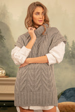 F1141 Roll Neck Long Wool Vest In Grey
