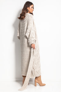 F1077 Chunky Knit Belted Cable Aran Maxi Cardigan In Beige