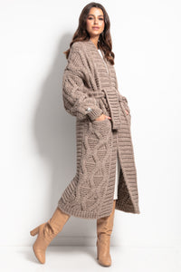 F1077 Chunky Knit Belted Cable Aran Maxi Cardigan In Brown