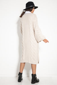 F1074 Front Pocket Longline Cable Aran Cardigan In Beige